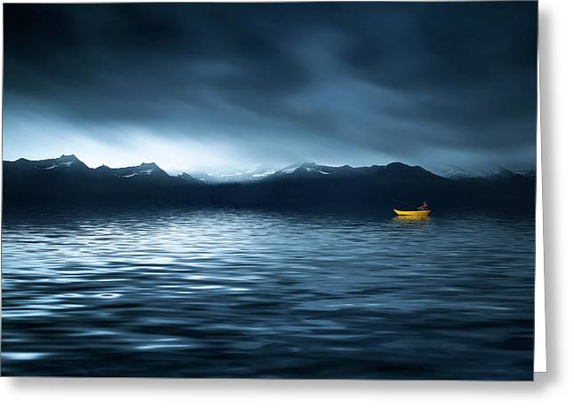 Yellow Boat Greeting Card by Bess Hamiti