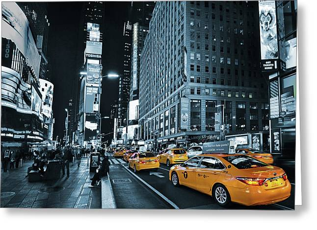 Yellow Broadway At Night - Nyc Greeting Card