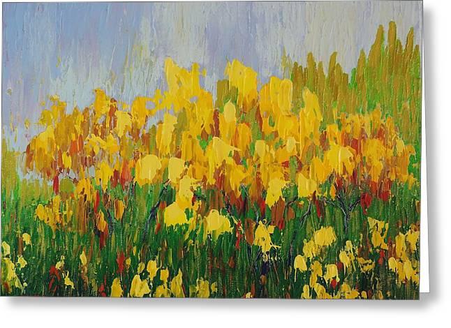 Yellow Brush Greeting Card by Margaret Bobb