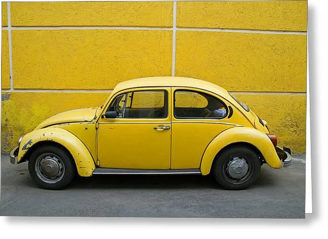 Yellow Bug Greeting Card by Skip Hunt