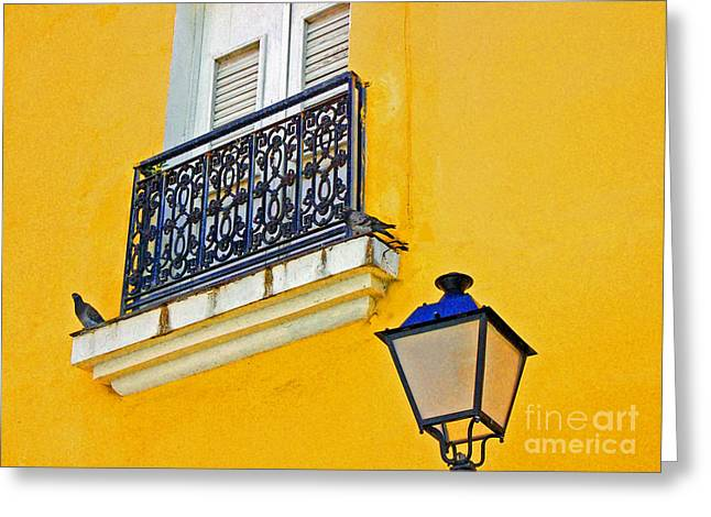 Yellow Building Greeting Card by Debbi Granruth