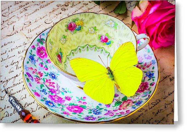 Yellow Butterfly On Tea Cup Greeting Card