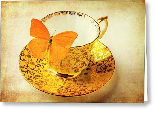 Yellow Butterfly On Yellow Tea Cup Greeting Card by Garry Gay