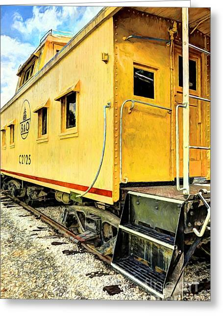 Yellow Caboose Greeting Card by Mel Steinhauer