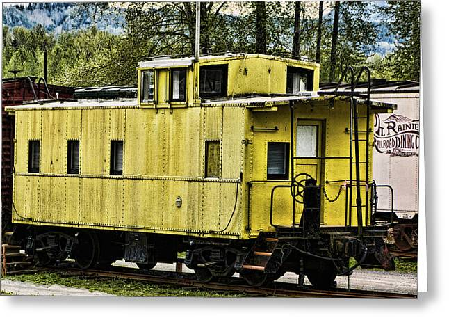 Yellow Caboose Greeting Card by Ron Roberts