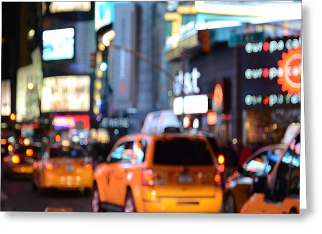 Yellow Cabs At Time Square In New York Greeting Card