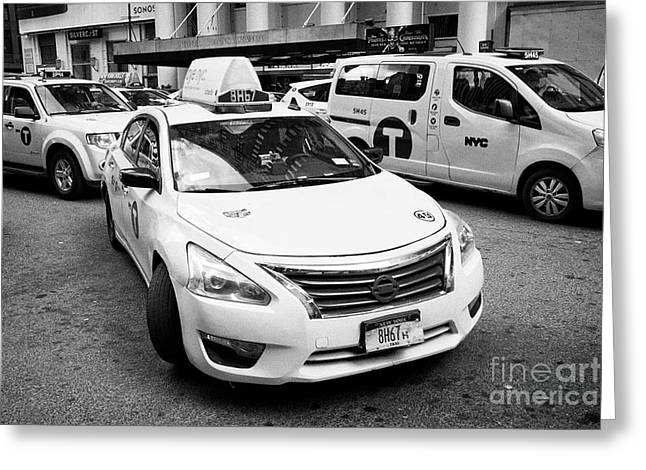 yellow cabs on 7th avenue with one pulling in to curb New York City USA Greeting Card