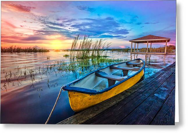 Boats At The Dock Greeting Cards - Yellow Canoe Greeting Card by Debra and Dave Vanderlaan