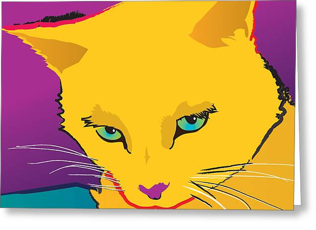 Yellow Cat Square Greeting Card