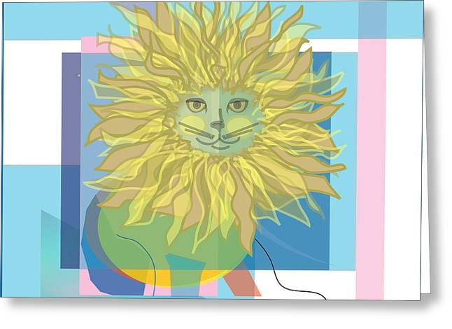 Yellow Cat Greeting Card by Susan Nelson