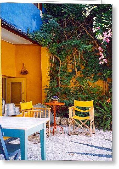Yellow Chairs Greeting Card by Andrea Simon
