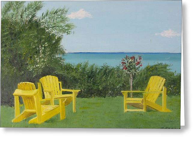 Yellow Chairs At Blue Mountain Beach Greeting Card by John Terry
