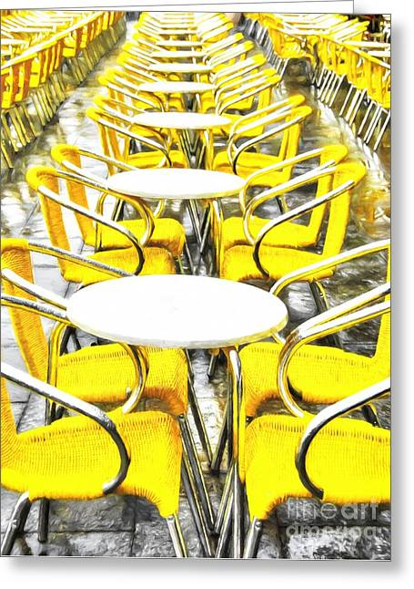 Yellow Chairs In Venice # 2 Greeting Card by Mel Steinhauer