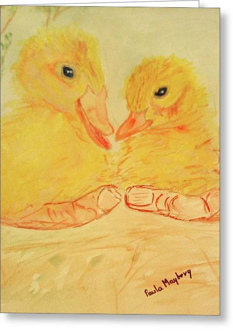 Yellow Chicks Greeting Card by Paula Maybery