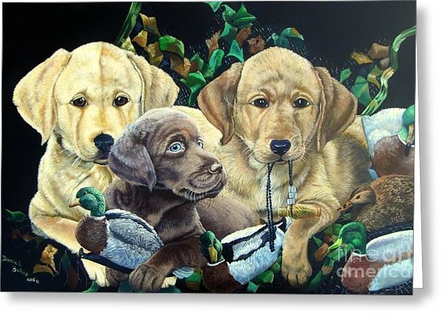 Yellow/chocolate Lab Puppies- They Made Me Do It Greeting Card