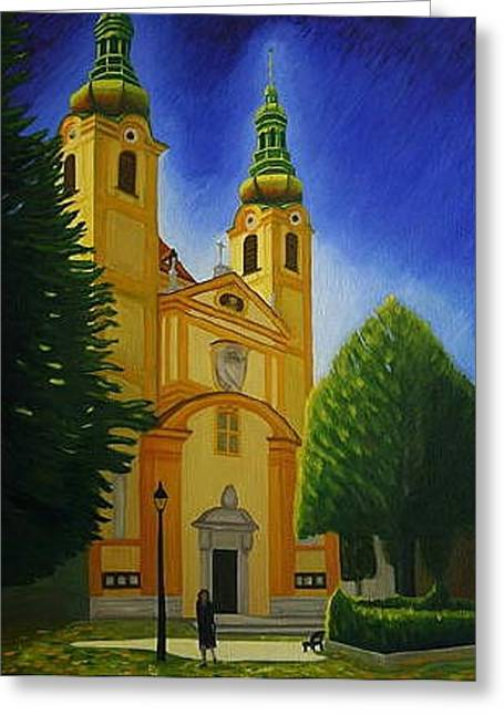 Yellow Church-vienna Greeting Card by Stephen Degan