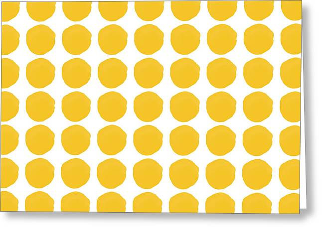 Yellow Circles- Art By Linda Woods Greeting Card by Linda Woods