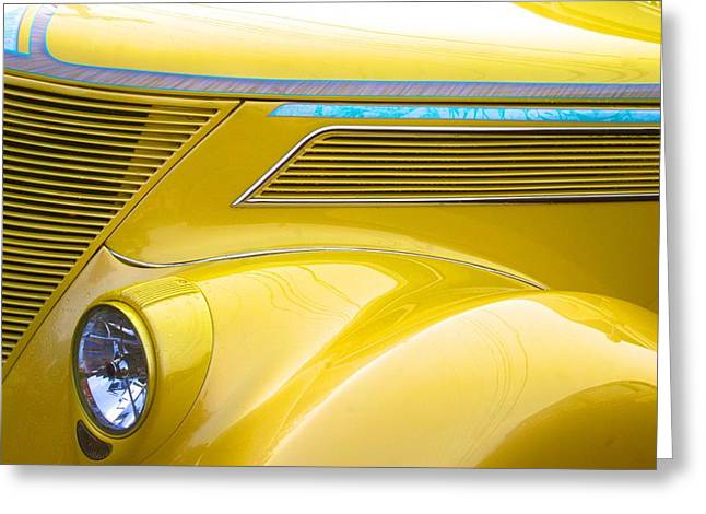 Greeting Card featuring the photograph Yellow Classic Car Contours by Polly Castor