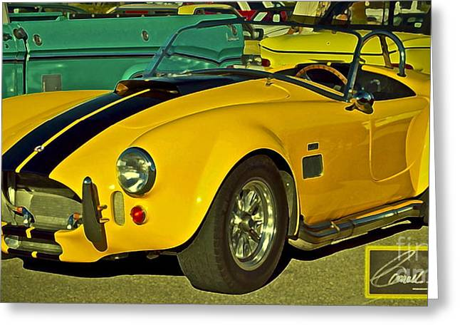 Yellow Cobra Greeting Card by Gwyn Newcombe