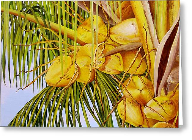 Yellow Coconuts- 01 Greeting Card by Dominica Alcantara