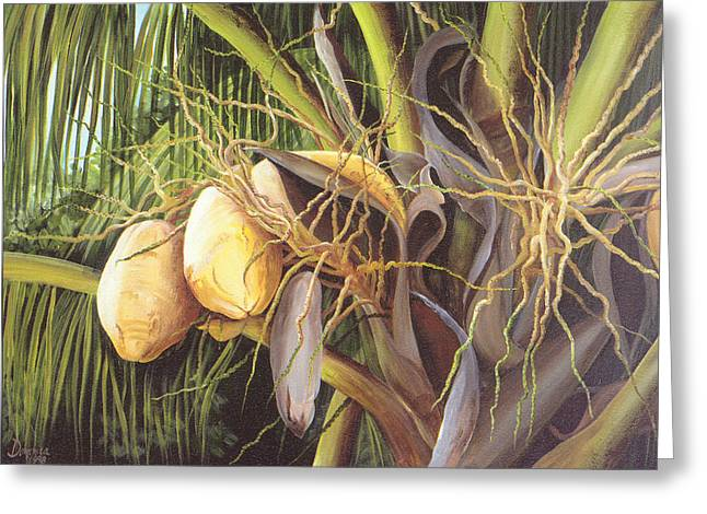 Dominica Alcantara Greeting Cards - Yellow Coconuts from the Tropics  Greeting Card by Dominica Alcantara