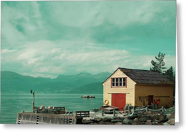 Beach Photos Greeting Cards - Yellow cottage Greeting Card by Sonya Kanelstrand