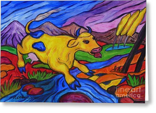 Yellow Cow Jumps A Creek Greeting Card