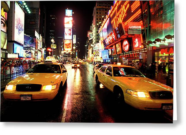 Yellow Crown Cabs Greeting Card