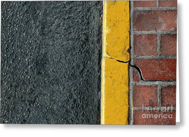 Yellow Curb Greeting Card by Dan Holm