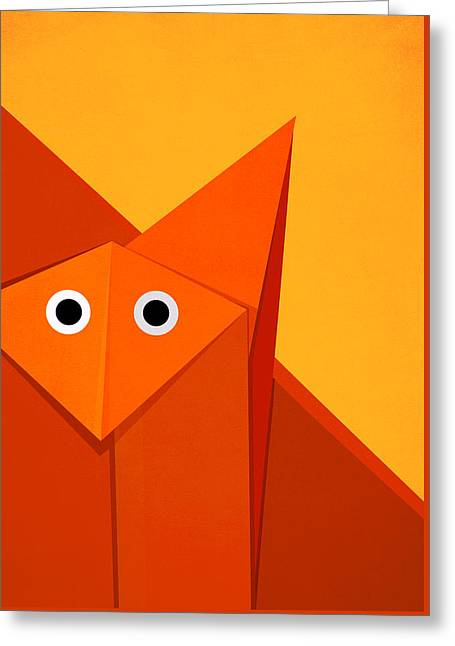 Yellow Cute Origami Fox Greeting Card