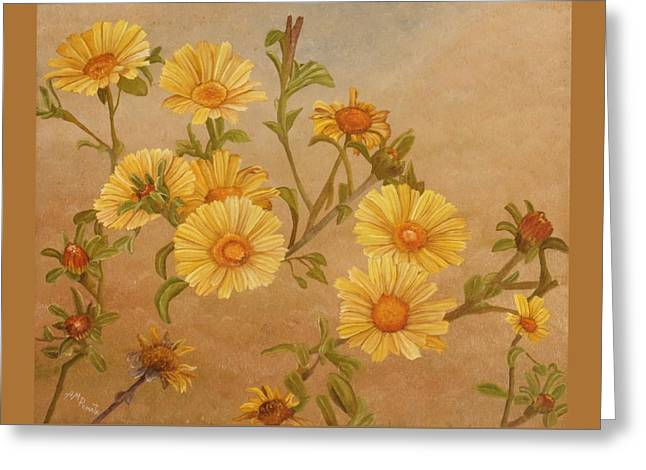 Greeting Card featuring the painting Yellow Daisies by Angeles M Pomata