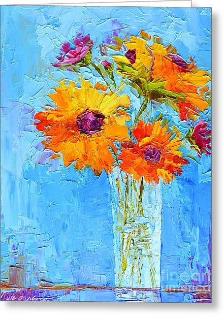 Yellow Daisies Flowers - Peonies In A Vase - Modern Impressionist Knife Palette Oil Painting Greeting Card
