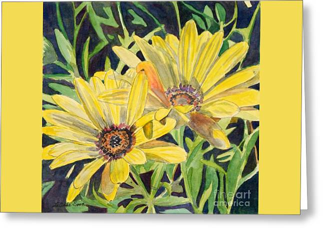 Greeting Card featuring the painting Yellow Daisy by LeAnne Sowa