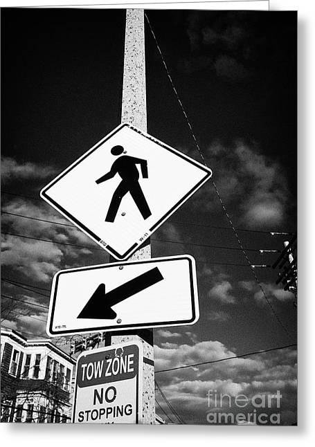 yellow diamond pedestrian crossing crosswalk sign dorchester Boston USA Greeting Card
