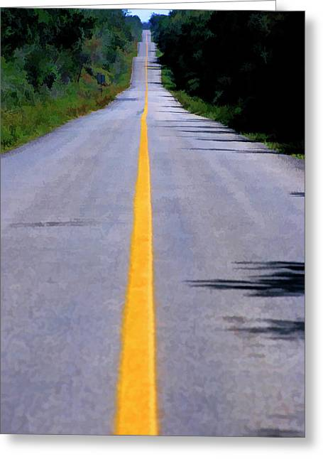 Yellow Line Greeting Cards - Yellow dividing line marking an empty road between Uxmal and Kabah Greeting Card by Sami Sarkis