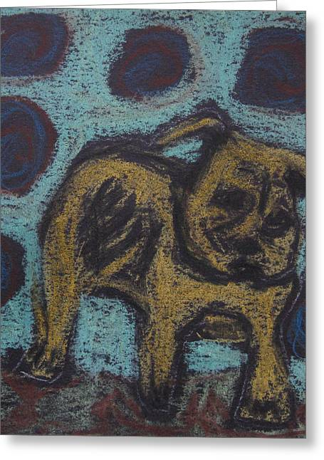 Greeting Card featuring the painting Yellow Dog by Patricia Januszkiewicz