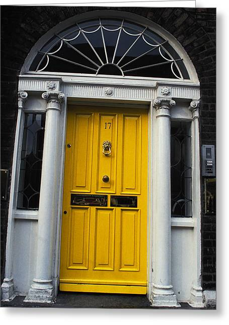 Yellow Door In Dublin Greeting Card by Carl Purcell