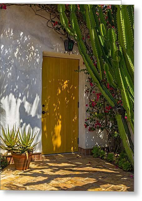 Yellow Door Greeting Card by Thomas Hall