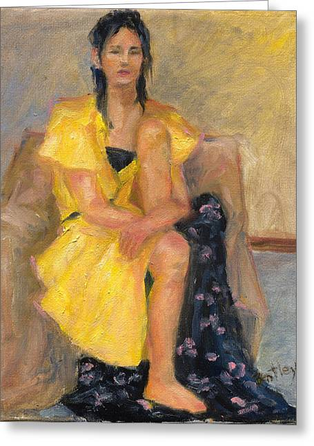 Yellow Dress Greeting Card by Rita Bentley