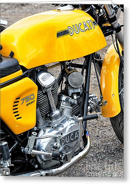 Yellow Ducati Greeting Card by Tim Gainey