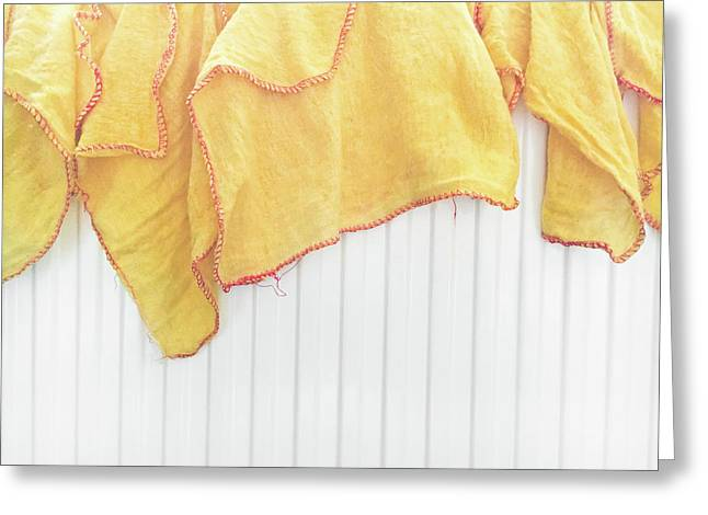 Yellow Dusting Cloths Greeting Card