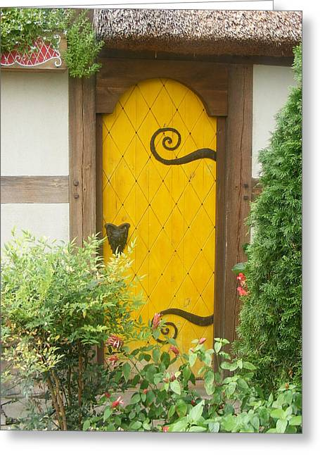 Yellow Fairy House Door Greeting Card by James and Vickie Rankin