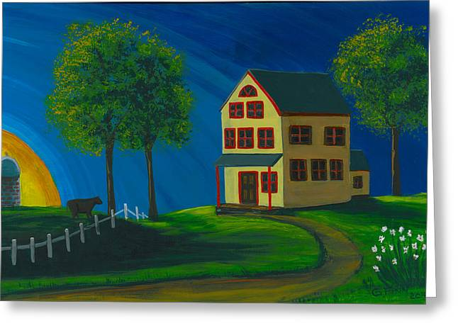 Greeting Card featuring the painting Yellow Farm House by Gail Finn