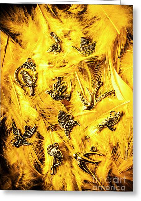 Yellow Feather Flock Greeting Card
