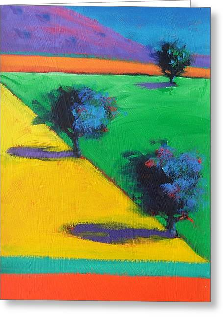 Yellow Field Greeting Card by Paul Powis