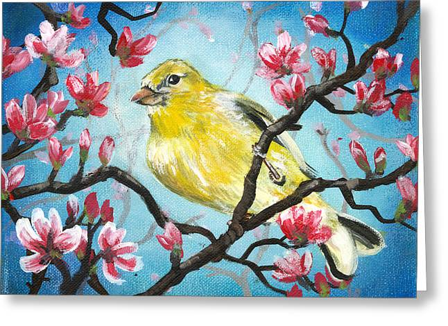 Yellow Finch Bird By Gretchen Smith Greeting Card