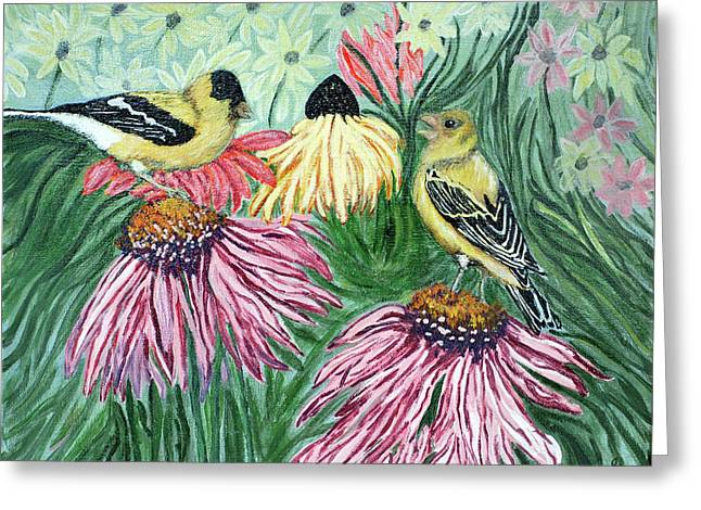 Yellow Finches Greeting Card by Ann Ingham