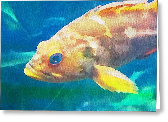 Yellow Fish Greeting Card by Bonnie Bruno