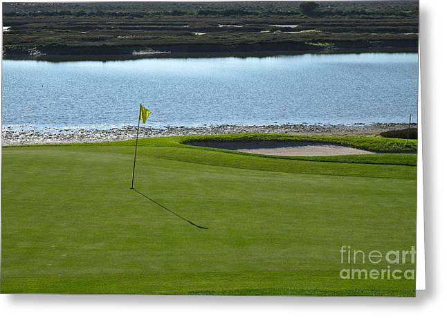 Yellow Flag On The Golf Course And Ria Formosa Greeting Card