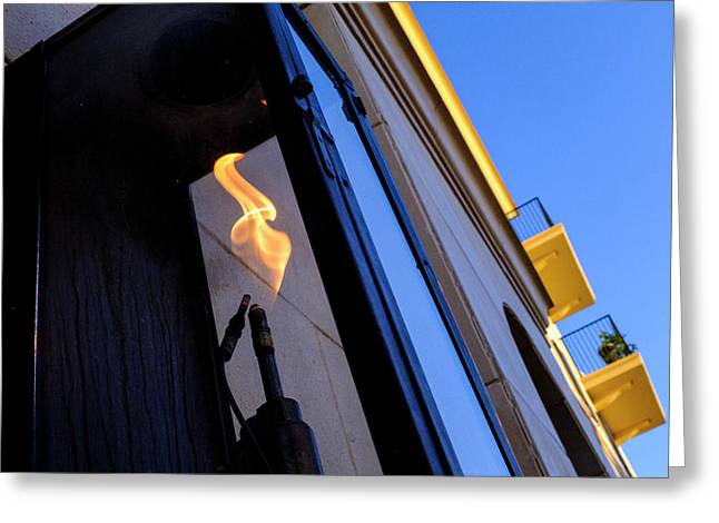 Yellow Flames And Blue Sky In Winter Park Florida Greeting Card